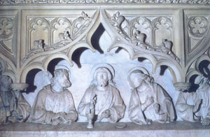 Detail from the Caen stone reredos depicting The Last Supper.