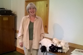 Margaret with her quiet little lambs!
