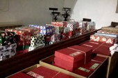 Our shoe boxes ready to go!