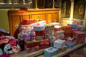 Shoeboxes galore with just a few of Vera's hats.