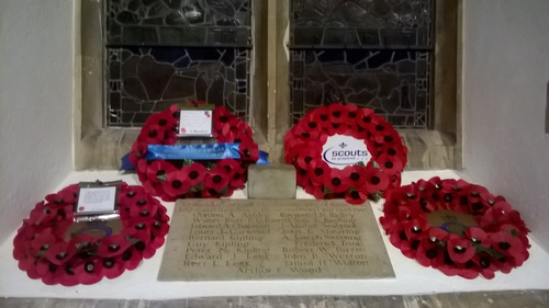 Wreaths were laid on the remembrance window