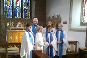 Revd Carolyn and her readers celebrate Mavis' ministry.